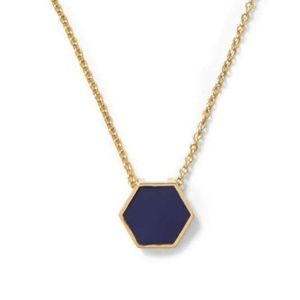 Gorjana Sunset Hexagon Pendant Necklace in Navy.